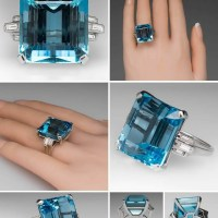 A Spectacular 27 Carat Aquamarine Diamond Platinum Ring Circa 1950s