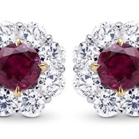 3.0 Cts Ruby Gemstone Earrings Set in 18K White Gold