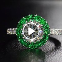 Diamond Emerald Halo Ring