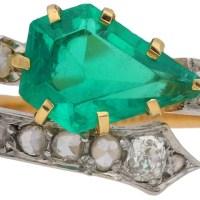 Art Nouveau Emerald and Diamond Ring, circa 1900.