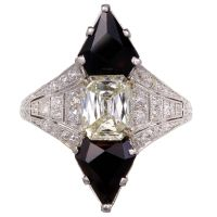 Antique Art Deco 1930 Black Star & Frost Emerald Cut Diamond Onyx Ring Platinum