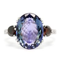GIA Tanzanite 3-Stone Ring with Fancy Red Diamonds 14K White Gold 7.08ctw