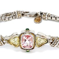 William Schraft Pink Topaz Bracelet with Tsavorite's in Sterling & 18kt Gold