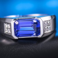 Natural Tanzanite Solid 14K White Gold Diamond Engagement Ring for Men Ring
