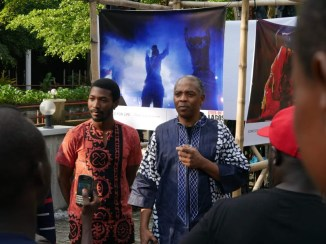 femi and son Made Kuti at the Afrobeat The Legacy Photo exhibition by Eyes of A Lagos Boy