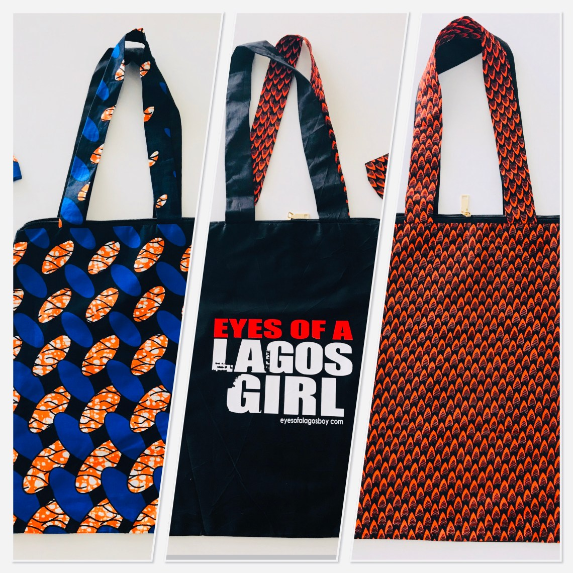 Eyes of a Lagos Girl tote bags