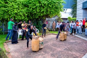 Members of Feetprint Afrika entertaining the audience at Greener Pastures opening - Photos by Aderemi Ogunmola