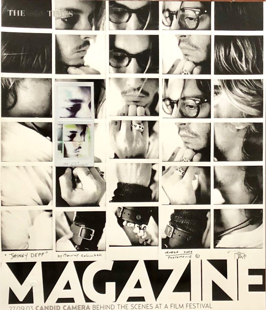 Maurizio Galimberti Johnny Depp MG The Time Magazine Cover / Double Ready Made. Tecnica: Dittico Fuji Instax Square manipolato, applicato su stampa carta cotone Fine Art. Dimensioni: 7,5x15,5 cm applicato su stampa 50x58 cm. Anno 2018. Edizione originale, pezzo unico