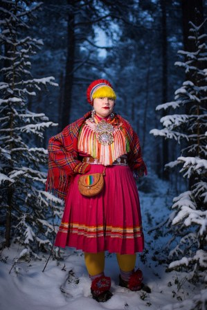 """170222 Merethe Kuhmunen, student at the Leather and Textile programme at the SamiÕs Education Center, poses for a portrait on February 22, 2017 in Jokkmokk, Sweden. """"I remember the first time when I realized that I like girls, I was 10 years old. Where I come from people never talked about LGBT issues. This way it has felt lonely, because I like girls. Therefore it took so long for me to tell that I'm queer. Once I did that, I felt like the world opened up. I have heard terrible things because I'm a lesbian. Even today, I feel that there is much to be done regarding LGBT issues in S‡pmi. Therefore, I will not give up. I think that everyone should get to be who they are."""" Photo: Joel Marklund / BILDBYRN"""