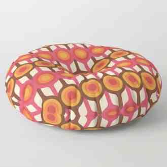Magenta, Orange, Ivory & Brown Retro 1960s Circle Pattern Floor Pillow by Eyestigmatic Design Society6