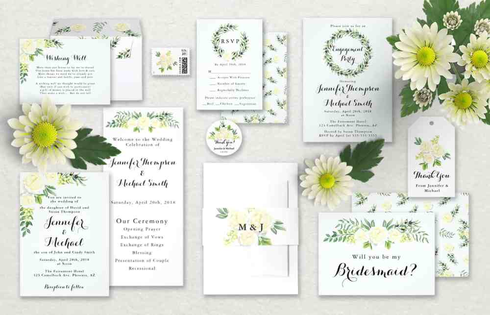 Zazzle Wedding Invitations For Summer White Roses Green Leaves