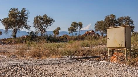 Electrical box beside dirt road in sunshine. Patara Turkey. Landscape Colour. P.Maton 2014 eyeteeth.net