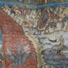 Painting of Hell outside Voronet Monastery, Bucovina