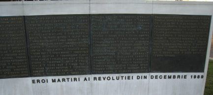 Piata Revotiei - Memorial of Rebirth plaque bearing names of killed in 1989