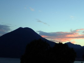 Sunset over a volcano