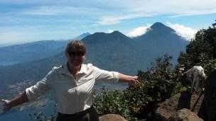 Emma in front of Volcano Atitlan