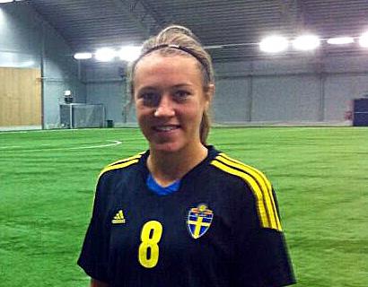 Freja Olofsson under SvFF:s träningsläger på Bosön.