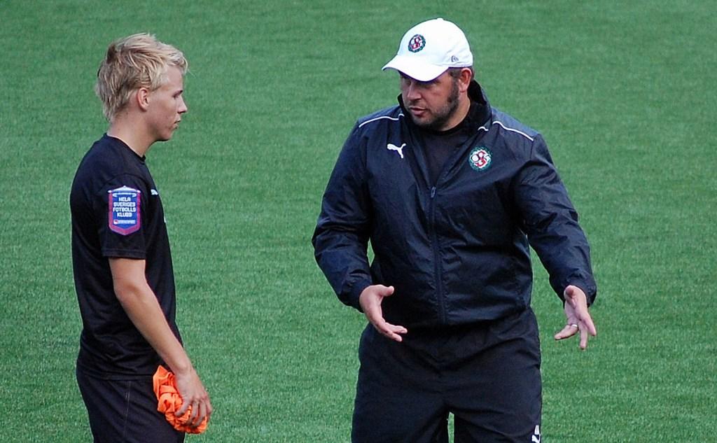 Sebastian Ring och Alexander Axén i träning hos ÖSK (augusti 2013).