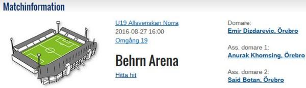 Matchinfo U19 ÖSK Gefle