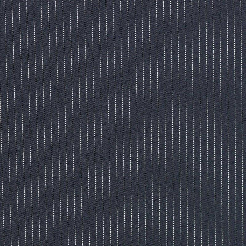 "Sergé fluide poly-viscose ""Rayure tennis bleu marine"" © Eyrelles tissus"