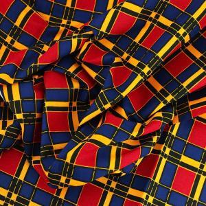 tissu wax africain hitarget motif Soummam Rpuge, jaune et Bleu © Eyrelles Tissus