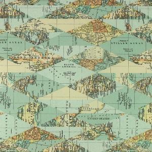 """Toile enduite polycoton """"Carte Du Monde"""" l © Eyrelles tissus"""