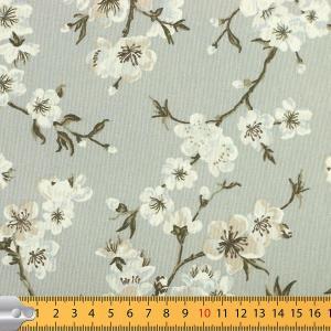"""Tissus Toile enduite polycoton """"Cerisier Japonais - Gris"""" l © Eyrelles tissus"""