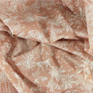 Tissu coton imprimé popeline Gazelle Rose Poudré © Eyrelles Tissus