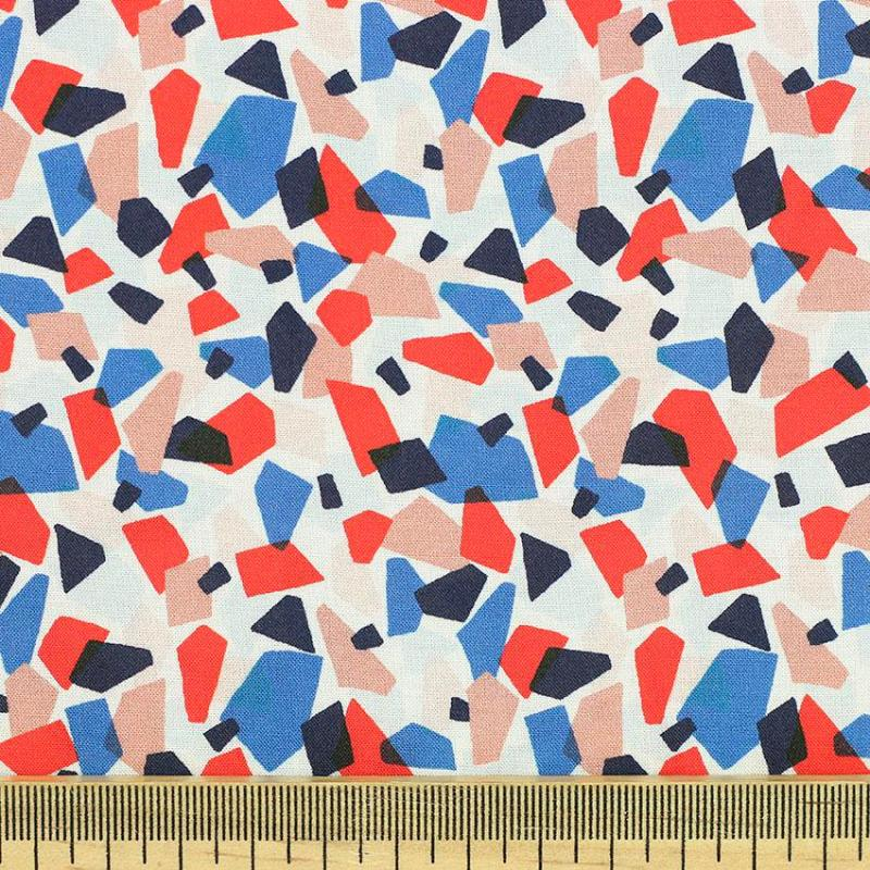 """Tissu voile de viscose imprimée géométrique """"Mosaïque"""" © Eyrelles Tissus"""