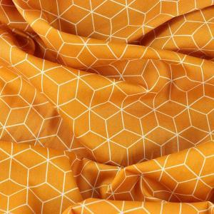 Popeline de coton cubes jaune moutarde © Eyrelles Tissus