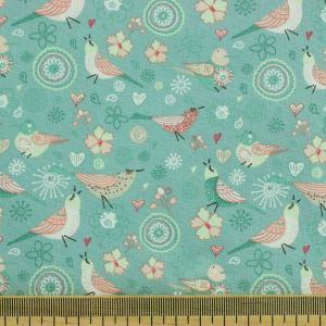 Tissu coton imprimé popeline Birdy Vert Menthe © Eyrelles Tissus