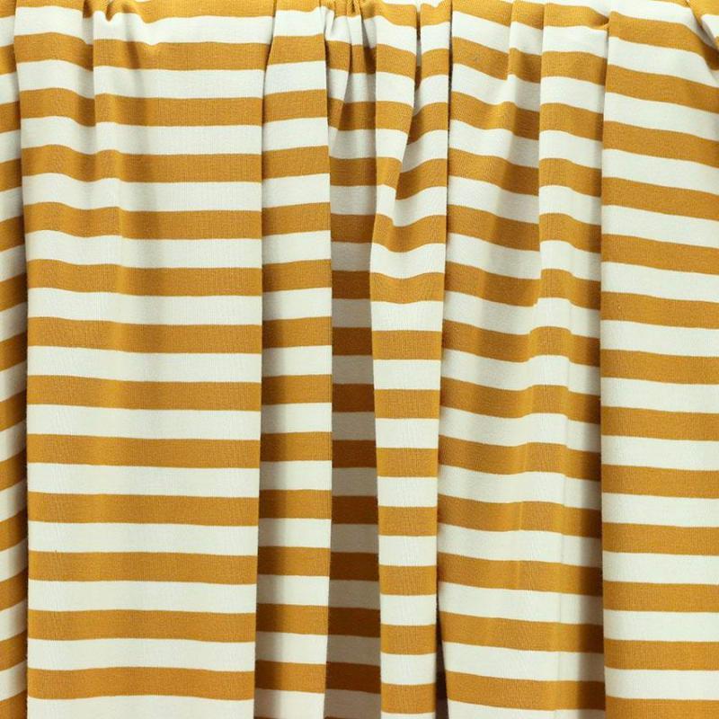 Tissus Jersey coton imprimé oeko tex Marinière Jaune Moutarde © Eyrelles Tissus