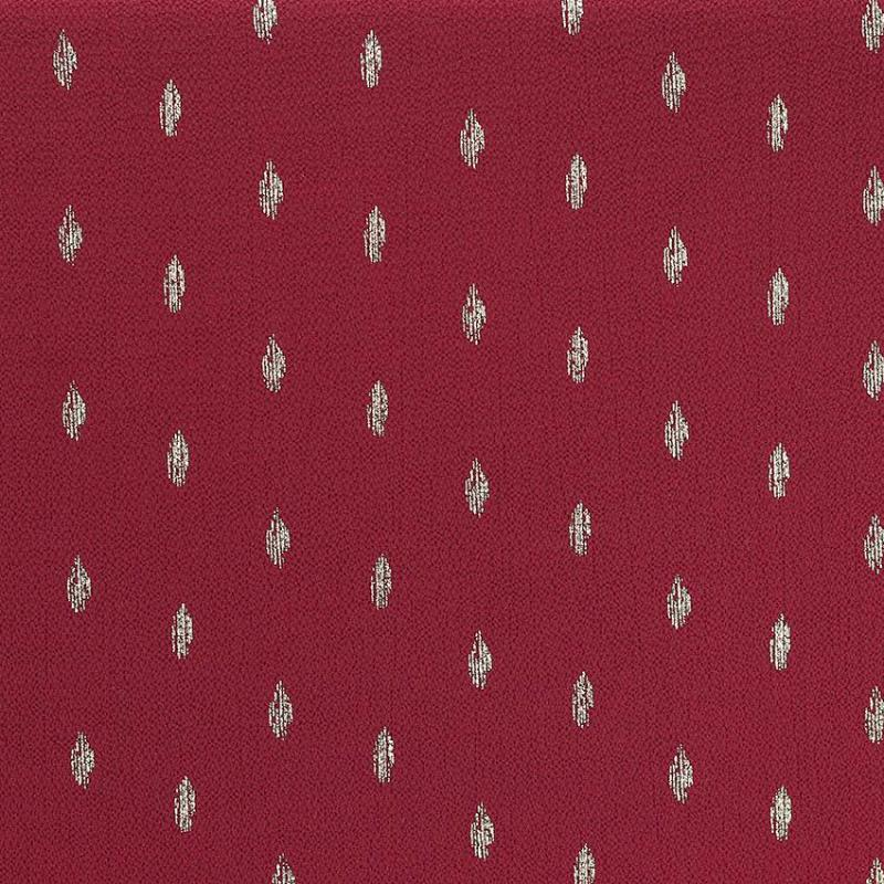 "Tissu crêpe 100 % Polyester fleurs ""Persane - Rouge Grenat"" © Eyrelles Tissus"