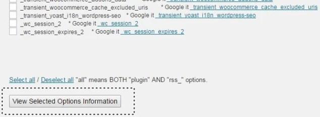 Wordpress Veritabanı Silme - Tabloları Seçme