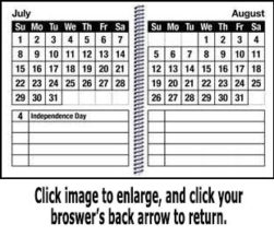 This is the monthly page view of the EZ2See Calendar