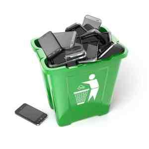 Mobile phones in garbage
