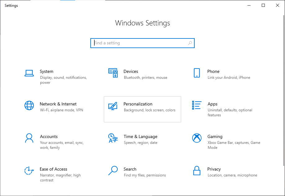 Personalization option selected in the Windows 10 settings app