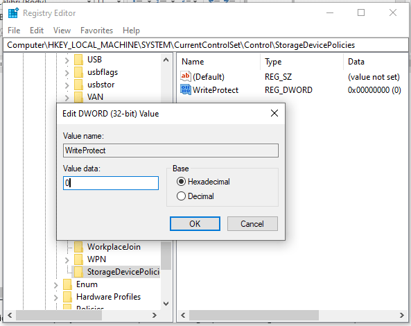 changing the writeprotect value data of the storagedevicepolicies folder to 0 in windows 10 registry editor