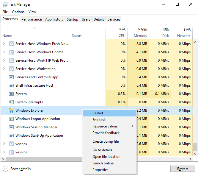 Screenshot showing how to restart Windows Explorer process from the Task Manager.