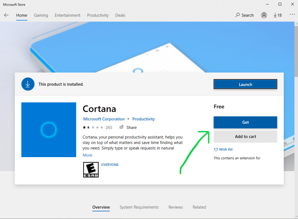 How to Update Cortana from Windows 10 Microsoft Store step 2