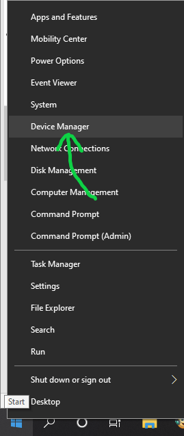 Opening Windows 10 Device Manager from the Start Menu right-click menu
