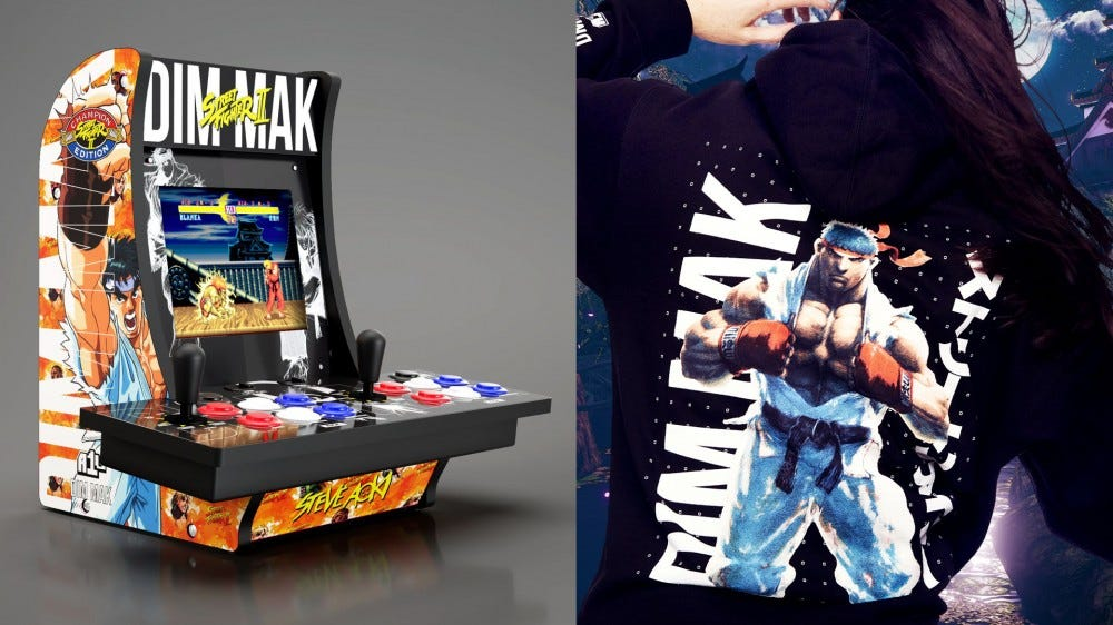 Street Fighter counter-cade and themed hoodie from this new collab