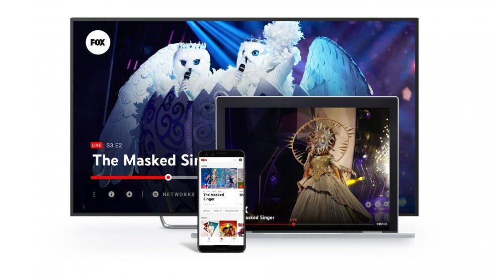 """YouTube TV on a smart TV playing """"the Masked Singer"""""""