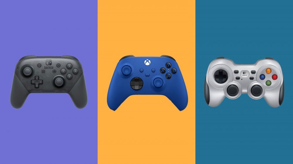 Nintendo Switch Pro Controller, Xbox Wireless Controller, and Logitech Gamepad F710 on a multi-colored background