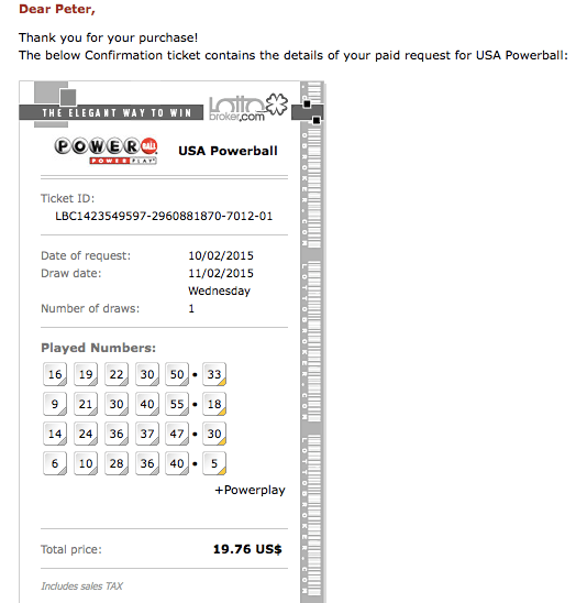 online USA Powerball ticket