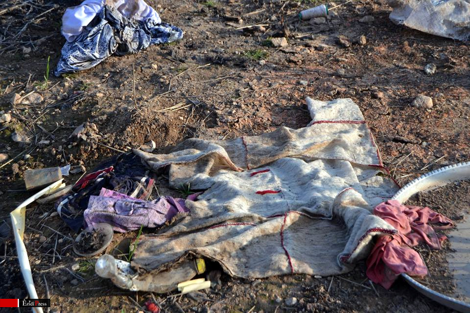 Remnants of a traditional garb of Yezidis from Shingal in Hardan: here, ISIS abducted over 600 women and children and killed hundreds of men