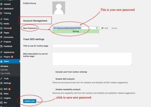 save new password