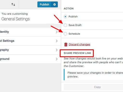 changes in WordPress 4.9 customizer workflow