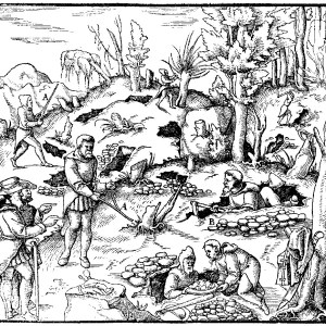 Лозоходцы на средневековой гравюре