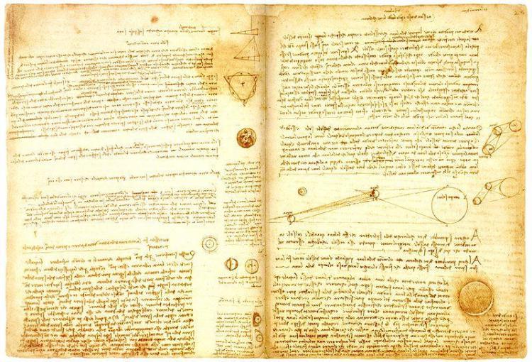 Зеркально писал Леонардо да Винчи – справа налево, все буквы развернуты по вертикальной оси на 180 градусов.